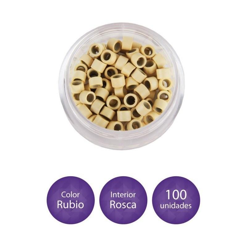 EUROSTYL Anillas de aluminio con grabado para extensiones rubio (100 anillas)