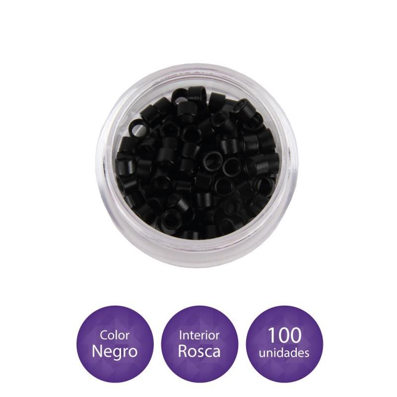 EUROSTIL Anillas de aluminio con rosca interior para extensiones negro (100 anillas)