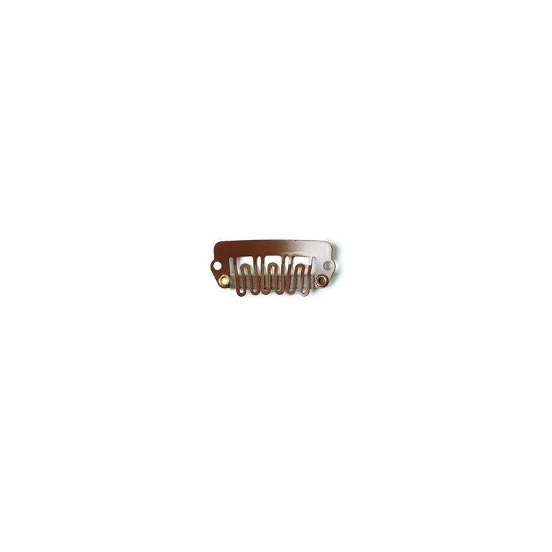 SANGRÁ Micropeineta clip marron mediano para extensiones (5pcs)