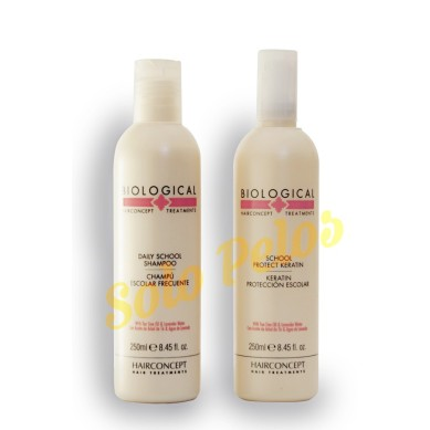 HAIRCONCEPT Pack champu escolar frecuente + keratin proteccion escolar BIOLOGICAL