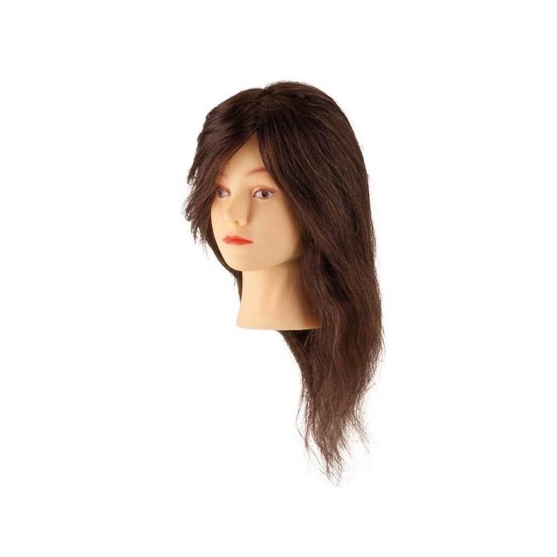 STEINHART Cabeza maniqui de cabello humano 100%  natural Castaño 45 cm
