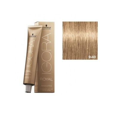 SCHWARZKOPF IGORA ROYAL ABSOLUTES 9-40 RUBIO MUY CLARO BEIGE NATURAL + OXIGENADA 30 VOL.