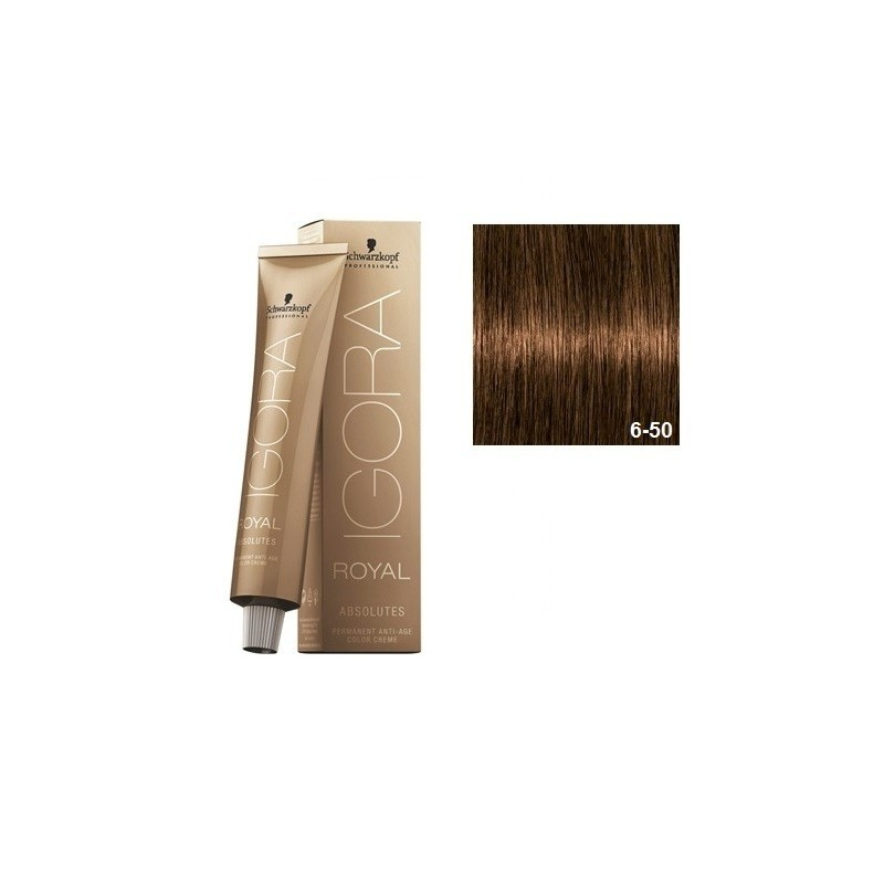 SCHWARZKOPF IGORA ROYAL ABSOLUTES 6-50 RUBIO OSCURO DORADO NATURAL + OXIGENADA 30 VOL.