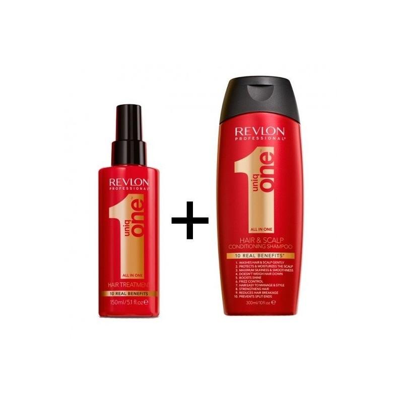 Pack Uniq One champu 300 ml + hair treatment 150 ml