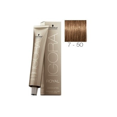 SCHWARZKOPF IGORA ROYAL ABSOLUTES 7-50 RUBIO MEDIO DORADO NATURAL + OXIGENADA 30 VOL.