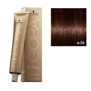 SCHWARZKOPF IGORA ROYAL ABSOLUTES 4-70 CASTAÑO MEDIO COBRIZO NATURAL + OXIGENADA 30 VOL.