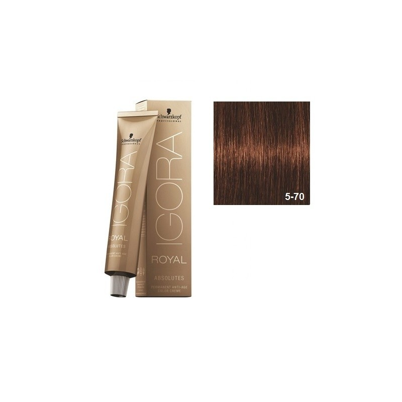 SCHWARZKOPF IGORA ROYAL ABSOLUTES 5-70 CASTAÑO CLARO COBRIZO NATURAL + OXIGENADA 30 VOL.