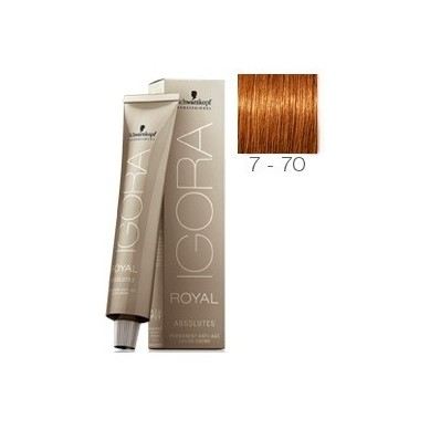 SCHWARZKOPF IGORA ROYAL ABSOLUTES 7-70 RUBIO MEDIO COBRIZO NATURAL + OXIGENADA 30 VOL.