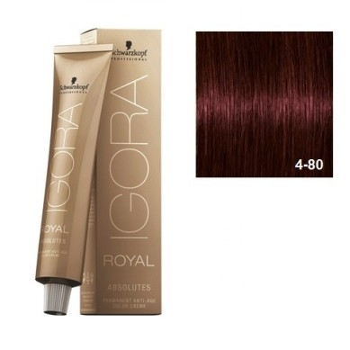 SCHWARZKOPF IGORA ROYAL ABSOLUTES 4-80 CASTAÑO MEDIO ROJO NATURAL + OXIGENADA 30 VOL.