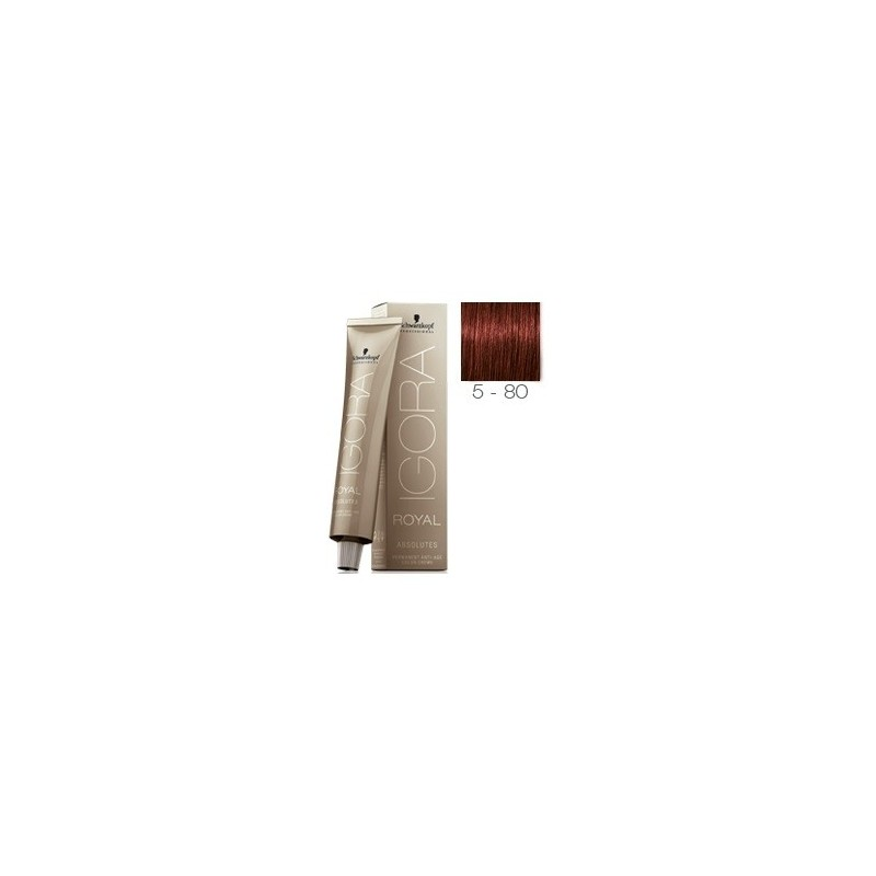 SCHWARZKOPF IGORA ROYAL ABSOLUTES 5-80 CASTAÑO CLARO ROJO NATURAL + OXIGENADA 30 VOL.