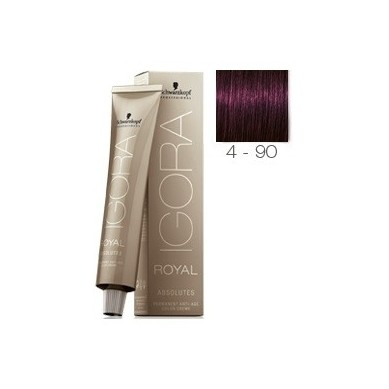 SCHWARZKOPF IGORA ROYAL ABSOLUTES 4-90 CASTAÑO MEDIO VIOLETA NATURAL + OXIGENADA 30 VOL.