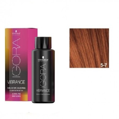 IGORA VIBRANCE BAÑO DE COLOR 5-7 CASTAÑO CLARO COBRIZO (sin alcohol) 60 ml