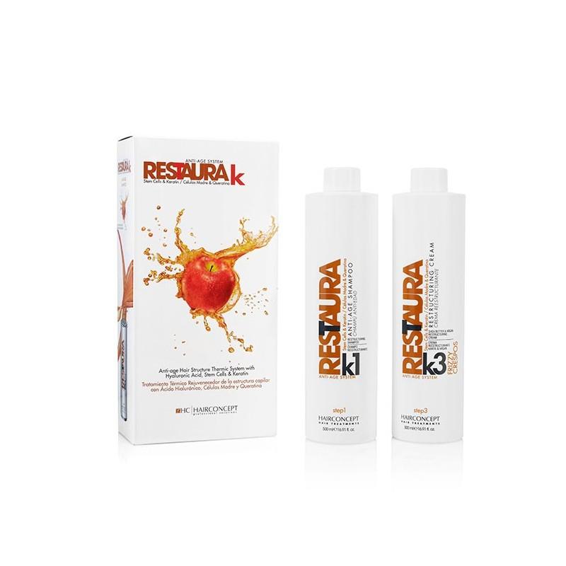HC Hairconcept Restaura k - kit champú reestructurante 500 ml + crema reestructurante 500 ml cabellos crespos