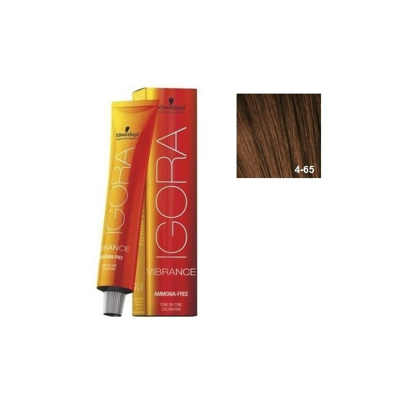 IGORA VIBRANCE BAÑO DE COLOR (sin amoniaco) 4-65 CASTAÑO MEDIO MARRÓN DORADO 60 ml