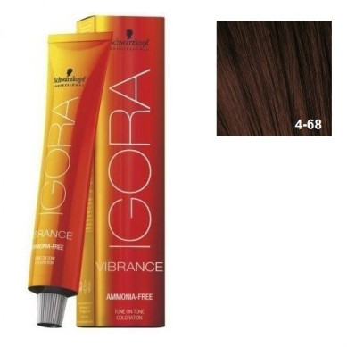 IGORA VIBRANCE BAÑO DE COLOR (sin amoniaco) 4-68 CASTAÑO MEDIO MARRÓN ROJIZO 60 ml