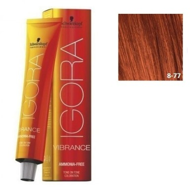 IGORA VIBRANCE BAÑO DE COLOR (sin amoniaco) 8-77 RUBIO CLARO COBRIZO INTENSO 60 ml