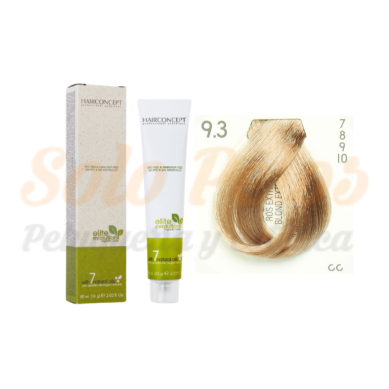 Hairconcept Tinte Sin Amoniaco ni PPD 9-3 Rubio Extra Claro Dorado 60 ml Elite Evolution Organic Color