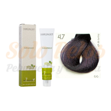 4-7 Castaño medio violeta ELITE EVOLUTION ORGANIC COLOR (Tinte de pelo sin amoniaco ni PPD) 60 ml HAIRCONCEPT