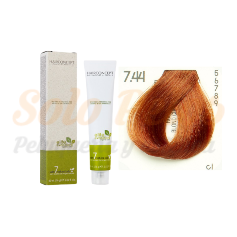 HAIRCONCEPT 7-44 Rubio medio cobre intenso ELITE EVOLUTION ORGANIC COLOR (SIN AMONIACO NI PPD) 60 ml