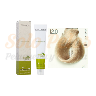 12-0 super-aclarante natural ELITE EVOLUTION ORGANIC COLOR (Tinte de pelo sin amoniaco ni PPD) 60 ml HAIRCONCEPT