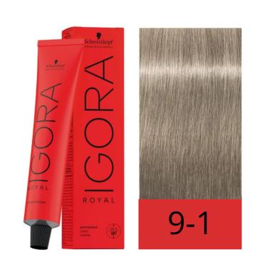 Schwarzkopf Tinte Igora Royal 9-1 Rubio Muy Claro Ceniza 60 ml