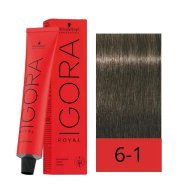 Schwarzkopf Tinte Igora Royal 6-1 Rubio Oscuro Ceniza 60 ml